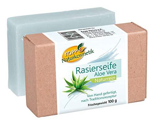Kopp Naturkosmetik Rasierseife Aloe Vera | Frischegewicht 100 g | Naturrein | mit blauer Tonerde | von Hand gefertigt