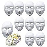 10 Masques Blancs Intégraux - Unisexe - Masque pour Peindre, décorer et concevoir - Idéal pour Halloween, déguisements, DIY, Bricolage, créatif Libre Conception, Mascarade, carnavals etc.