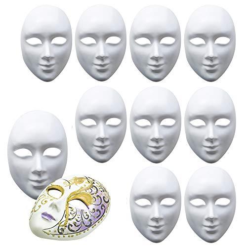 10 Maschere Bianche - Unisex - Maschera Viso Bianca per Decorare e Design - PVC di Alta qualità - Ideale per Halloween, DIY, Arte e Artigianato, Carnevale, Teatro, e Altro