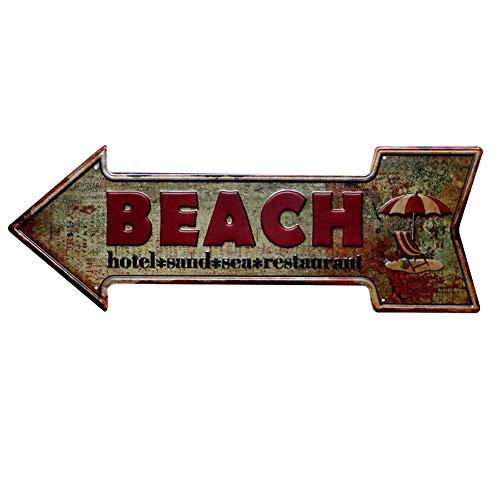 Wakerda Metal Poster Cartel de Cafe de Bar Pintura Decorativa Hierro Vintage Hierro Pintura Tin sign Placa Metálica Decorativa Flecha 'BEACH'(Retro)