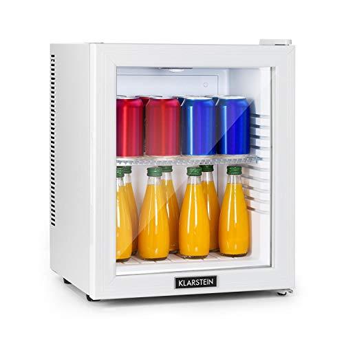 KLARSTEIN Brooklyn - Minibar, Mini Frigo, Sistema di Raffreddamento Termoelettrico in 3 Livelli: fino a 12 °C, EcoExcellence System: Classe Energetica E, Silenziosissimo: 0 dB, 24 Litri, Bianco