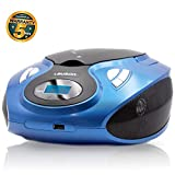 Lauson MX15 Radio FM Sintonizador Pantalla LCD y Reproductor de CD Portátil con USB | Lector USB para Reproducir Música MP3 | CD Player con Salida de Auriculares 3.5mm y Altavoces Incorporados (Azul)