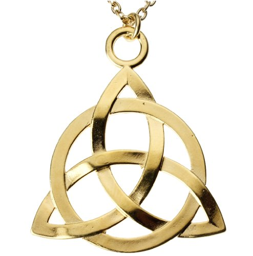 From War to Peace Celtic Trinity Knot Gold-Dipped Pendant Necklace on 18' Rolo Chain
