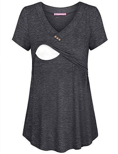 JOYMOM Nursing Tops Short Sleeve,Maternity Charming V Neckline Buttons Postpartum Clothes Womens Dull Aline Flare Dressy Shirts Breastfeeding Tunics Blouses Home Wear Grey M