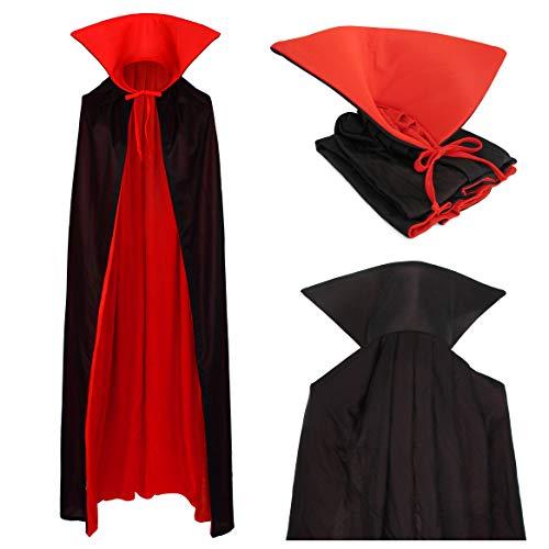 papapanda Vampiro Collo Alto Mantello Rosso Nero 130cm per Bambini e Adulti