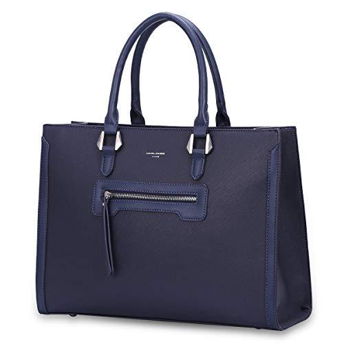 David Jones - Borsa a Mano Donna Lavoro Grande Capacità - Tote Shopper Bag Capiente PU Pelle - Borsa a Spalla Tracolla - Ventiquattrore Cartella Satchel Elegante - Ufficio Scuola Moda Città - Blu