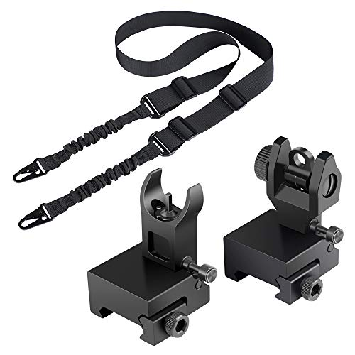 Feyachi Flip Up Backup Iron Sights with L46 Two Points Rifle Sling