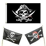 1 bandera pirata, 2 banderas de cráneo, 150 × 90 cm, bandera de fiesta pirata, bandera de Jolly Roger, para decoración de Halloween, fiesta pirata, cosplay pirata