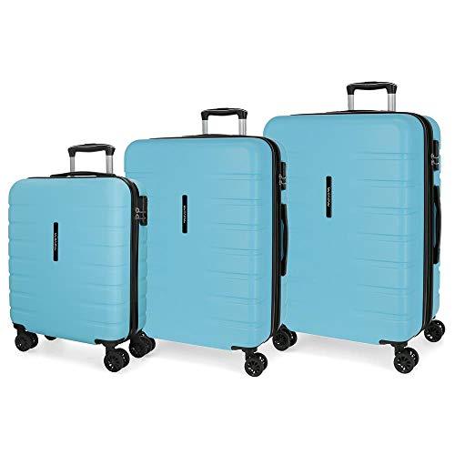 Juego de 3 maletas rígidas 55-69-79cm Movom Turbo azul celeste