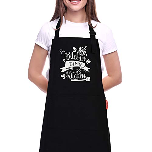Kitchen Apron for Women and Men with Pockets, Funny Cooking Grilling Apron - No Bitchin in My Kitchen. Birthday Gifts for Mom Dad, Girlfriend boyfriend, Wife Husband