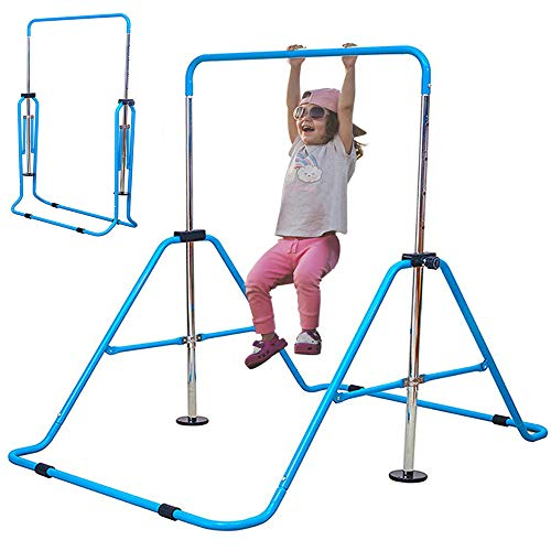 Slsy Gymnastics Bars Kids Kip Training Bars for Home, Folding Horizontal Bars with Adjustable Height, Practice Bar Gymnastic for Kid, Child, Girls, Boys (Blue Pro)