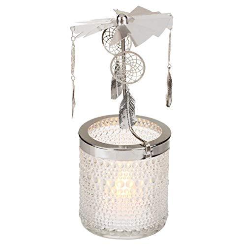 Out of the blue Teelichthalter mit rotierenden Traumfängern, beweglich, nach Art Einer Weihnachtspyramide; Kerzenhalter mit Traumfänger Mobile aus Metall, Glas; ca. 17,5 cm groß, Durchmesser 8 cm