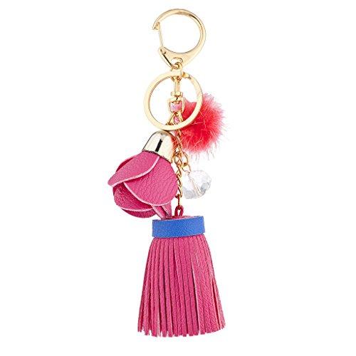 Lux Accessories - Llavero de Piel sintética con Borla 15 cm Rosa