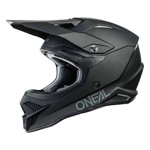 O'NEAL   Casco de Motocicleta   Moto Enduro   Estándares de Seguridad ECE 22.05, respiraderos para una óptima ventilación y refrigeración   Casco 3SRS Solid   Adultos   Negro   Talla XXL