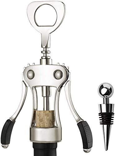 Wine Bottles Openers Key Corkscrew Stainless Steel Set Vacuum Silicone Rubber Decorative Sealer product image