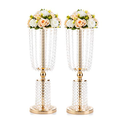 Nuptio 2 Pcs Wedding Centerpieces for Tables, 60cm Gold Flower Vases for Centerpiece Tall Crystal Metal Vase Flower Stand Holders Wedding Centerpiece Chandelier for Wedding Christmas Reception Table