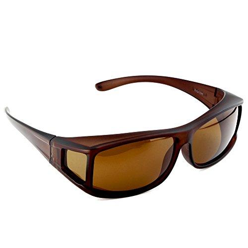 ACTIVE SOL Überzieh-Sonnenbrille für Herren | Sonnen-Überbrille UV400 | polarisiert | Fit-over Polbrille für Brillenträger (braun)
