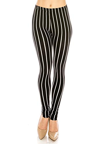 The Leggings Gallery Women's Printed Fashion Leggings Ultra Soft Solid & Patterned - Regular/Plus Sizes (Mod Stripes, Regular)