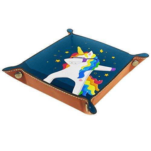 Bandeja de Valet Cuero para Hombres - Estrellas de pelo de arco iris de unicornio - Caja de Almacenamiento Escritorio o Aparador Organizador, Captura para Llaves,Teléfono,Billetera