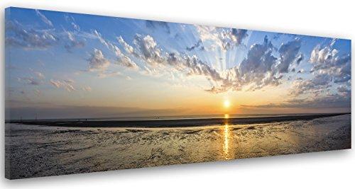 Feeby Cuadro en Lienzo Imagen Impresión Pintura Decoración Canvas de Una Pieza 150x50 cm Puesta del Sol Naturaleza Azul