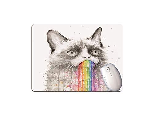 Mini Alfombrilla para Ratón, Tamaño 240 x 200 x 2 mm, Resistente al Agua, Base de Goma Antideslizante, para Ratón PC/Mac/Ordenador Portátil. (Gato Arcoiris)
