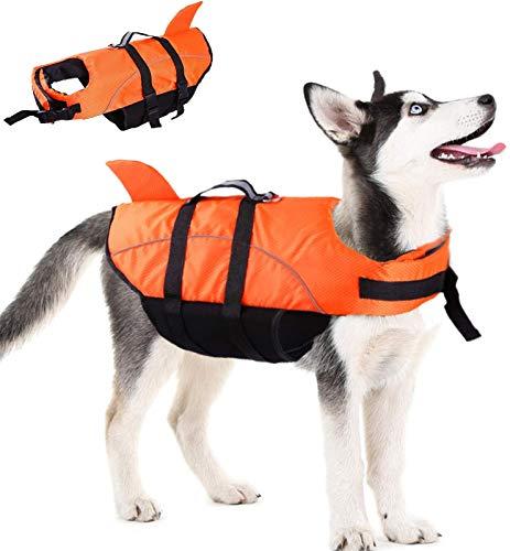 FR&RF Chaleco salvavidas de seguridad para perro, chaleco salvavidas de tiburón con alta flotabilidad y asa de elevación para cachorros, dispositivo de seguridad en la piscina, barco en la playa, XS