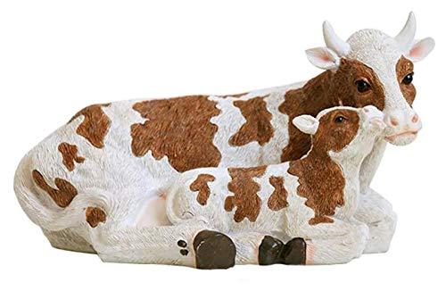 Estatua escultura para la decoración del hogar adornos de vaca y becerro al aire libre ornamento de jardín, resina animal figurilla accesorios de hadas adornos sala de estar escritorio decoraciones
