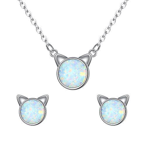 EVER FAITH Juego de pendientes y collar de plata de ley 925 hipoalergénicos con diseño de gato y ópalo blanco