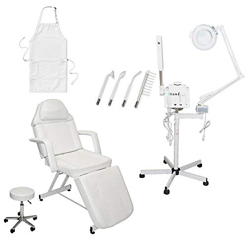 LCL Beauty Salon Spa Package: 3 in 1 Herbal Aromatherapy Facial Steamer, 5x (16 Diopter) Magnifying Lamp, Professional High Frequency Machine. Adjustable Facial Bed with Technician Stool