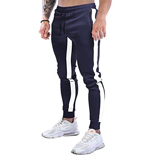Suwangi Pantalones Deportivos Running para Hombre Joggers Largos Gimnasio Entrenamiento Casuales Pantalón Chándal Largo con Bolsillo Cremallera