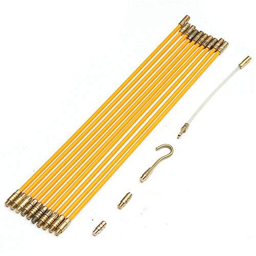 Almabner 4 mm 33 cm Fiberglas Laufen Elektrisches Kabel Zugband Set Fischband Kabelzieher Fiberglas Fischband Kabelstangen anschließbar, Nicht Null, gelb, Free Size