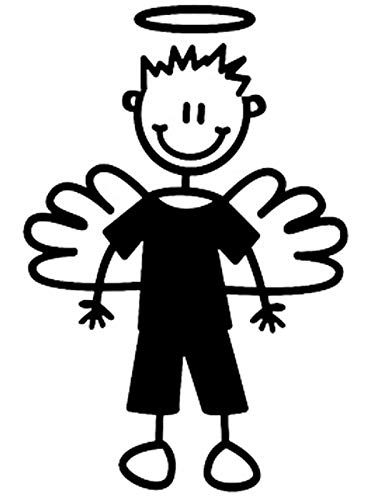 MYFAMILY The Sticker Family - Boy Angel - carsticker - 8.5 cm - wit - AB