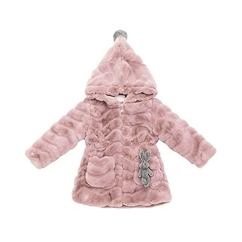 Girls Faux Fur Winter Coat, Zip Up Quilted Warm Fleece Jacket Outwear with Hood Pink-120