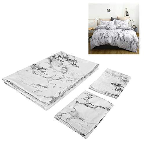 zcyg Home Bedding - Juego de cama de mármol impreso (poliéster, funda de edredón de 230 x 260 cm), diseño de funda de edredón y 2 fundas de almohada