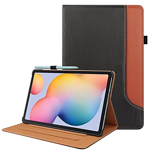 HoYiXi Funda Compatible con Samsung Galaxy Tab S6 Lite 10.4 2020 Estuche de Tableta con Soporte y Pen Holder Funda Protectora para Samsung Galaxy Tab S6 Lite 10.4 SM-P610/P615 2020, Negro y marrón