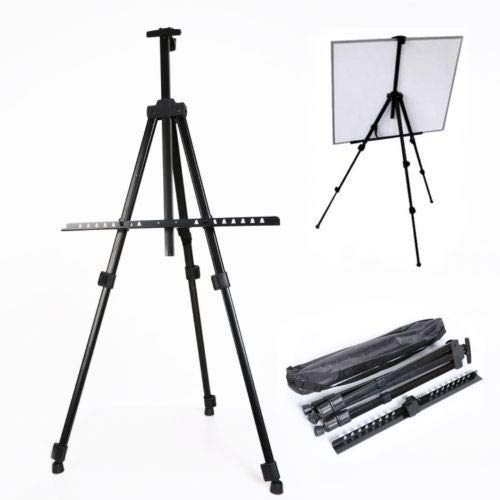 JTW- Extremely Strong Lightweight Best Artist Display Easels Adjustable Tripod Display Stand Metal Bearable W/Carry Bag of Black Color