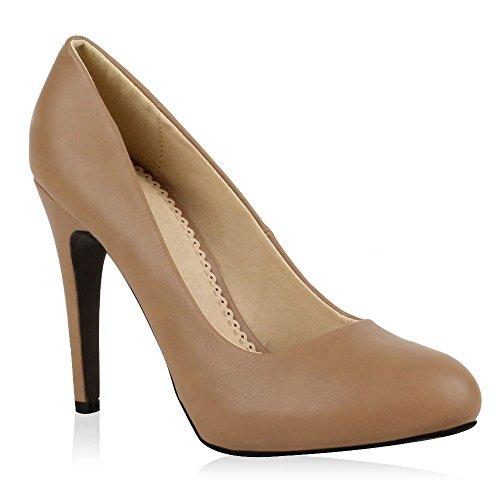 Elegante Damen High Heels Spitze Pumps Lack Metallic Stiletto Samt Glitzer Nieten Abend Business Schuhe 47914 Khaki 40 Flandell
