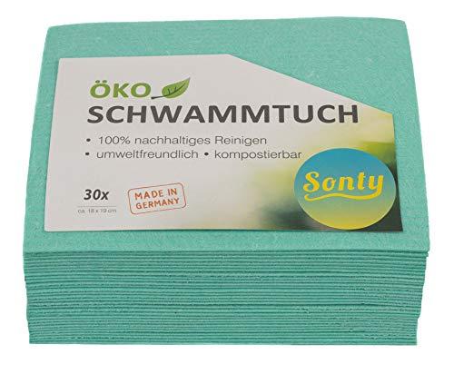Sonty 30 Stück ÖKO Schwammtuch, umweltfreundlich, nachhaltig, biologisch abbaubar, 18 x 19cm (30)