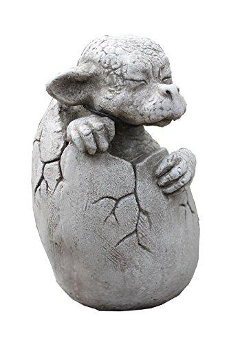 SKULPTUR Drachen Baby Rubin Figur Steinguss 21x16x13cm 2kg Gartenfigur