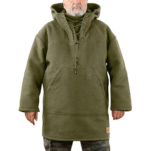 YHTGF New Winter Wool Coat Men Leisure Long,Mens Heavy Wool Outdoor Coat,Men's Washed Cotton Military Jacket,with Drawstring and Front Kangaroo Pocket,Pure Color Plus Size (Army Green, XXL)