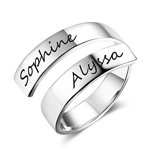 Grand Made Personalizado Nombre Twist Ring 2 Nombre Abierto Ajustable Grabado Nombre BFF Regalo Promesa para la Madre Acero Anillo Aniversario Día de San Valentín Anillo de Mujer Pareja (Silver)