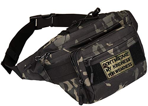 BlesMaller Tactical Fanny Pack Military Running Riñonera Molle Army Bandolera Lumbar Bumbag,Negro Camo (parche incluido)