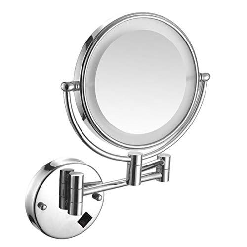 HIFM Éclairage LED Maquillage Miroir cosmétique avec grossissement 5X - Miroir grossissant grossissant pivotant à 360 degrés, Connexion câblée,Chrome Finish_8inch