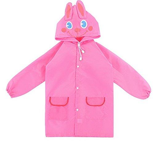 Cicilin Unisex Kinder Regenjacken Jungen Mädchen Cartoon Tier Regenmäntel Kapuzen Wasserdichte Outdoors Jacke Pink One Size