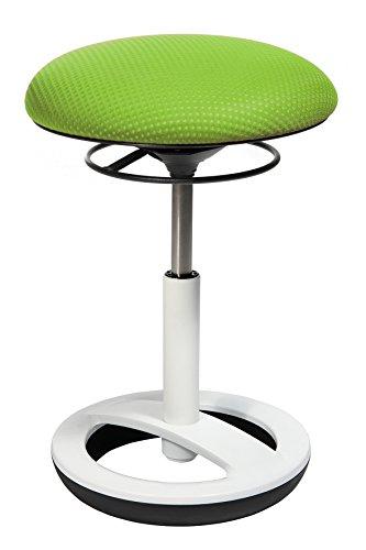 Topstar Sitness Bob, ergonomischer Sitzhocker, Arbeitshocker, Bürohocker mit Schwingeffekt, Sitzhöhenverstellung, Standfußring Alu, weiß lackiert, Stoffbezug, grün
