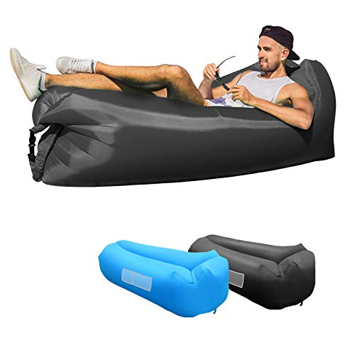 KXLY Inflatable Couch Air Sofa Hammock, Portable Inflatable Lounger Water Proof&Anti Air Leaking Inflatable Beach Chair for Outdoor Camping Picnics Hiking Beach Music Festivals - Double-layered(Black)