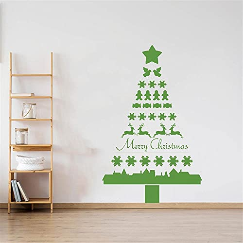 Pegatinas de pared de árbol de Navidad nórdico,caramelos de Santa Claus,alce,copo de nieve,pegatina de pared para ventana de casa,calcomanía de arte mural A3 42x78cm