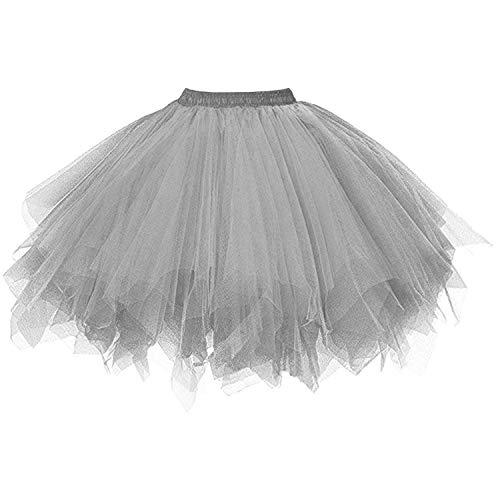 DresseverBrand Damen Petticoat 50er Rockabilly Jahre Retro Tutu Ballet Tüllrock Cosplay Crinoline Silber XX-Large