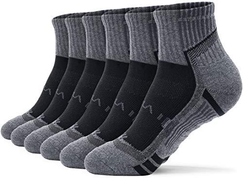 TSLA Men's Athletic Crew Socks Cushioned Sports Comfort, Active Grip 6pairs(mzs43) - Black & Charcoal, M [Men 5-8_Women 6-9]