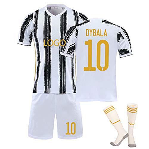 GWCUU Uniforme de fútbol para niños y niñas, 2021 Dybala # 10 Ronaldo # 7 Jersey Camiseta, Camiseta de fútbol + Pantalones Cortos + Calcetines White10-18